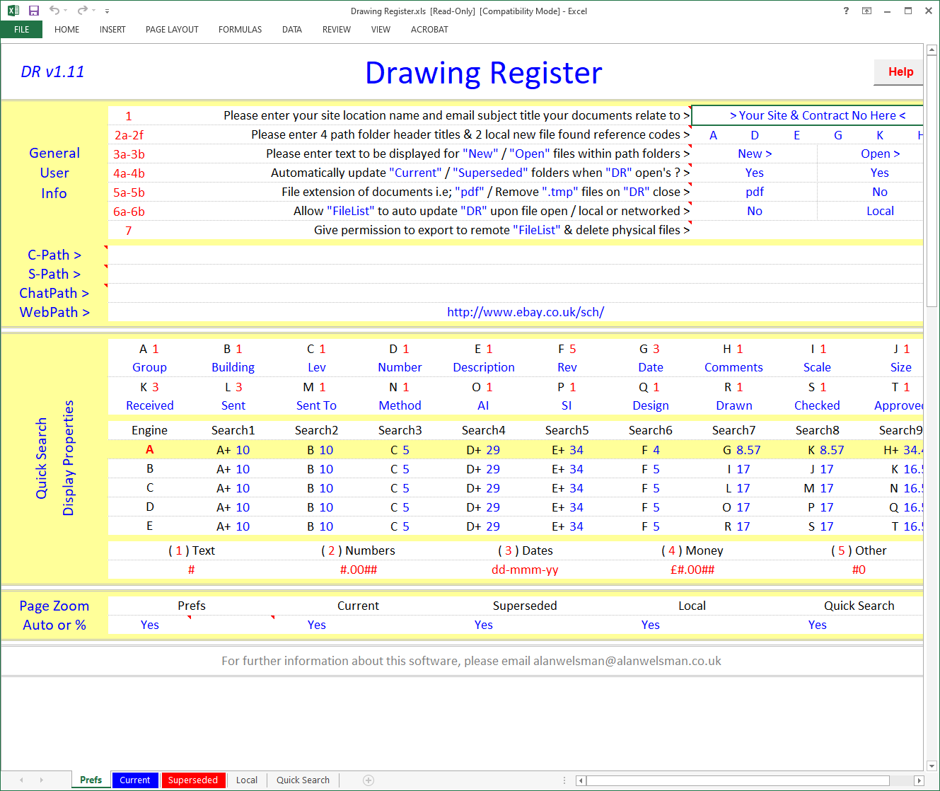 Excel Drawing Register Template